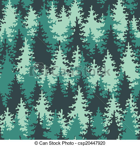 Vector Illustration of Seamless pattern coniferous forest.