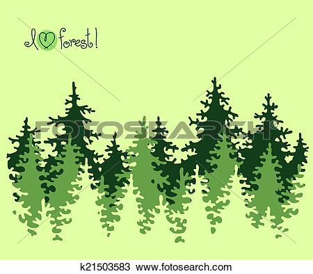 Clipart of Abstract banner of coniferous forest. k21503583.