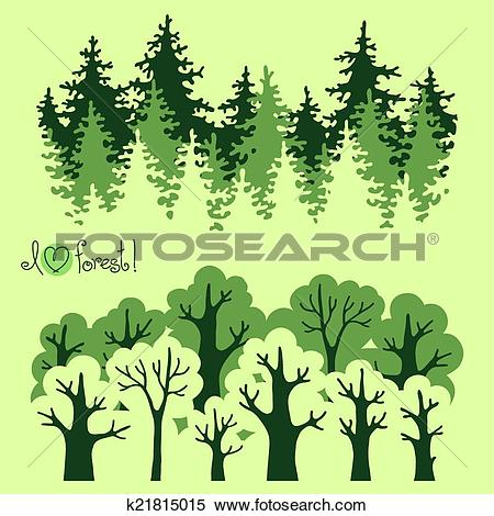 Clipart of Abstract banners of green deciduous forest and.