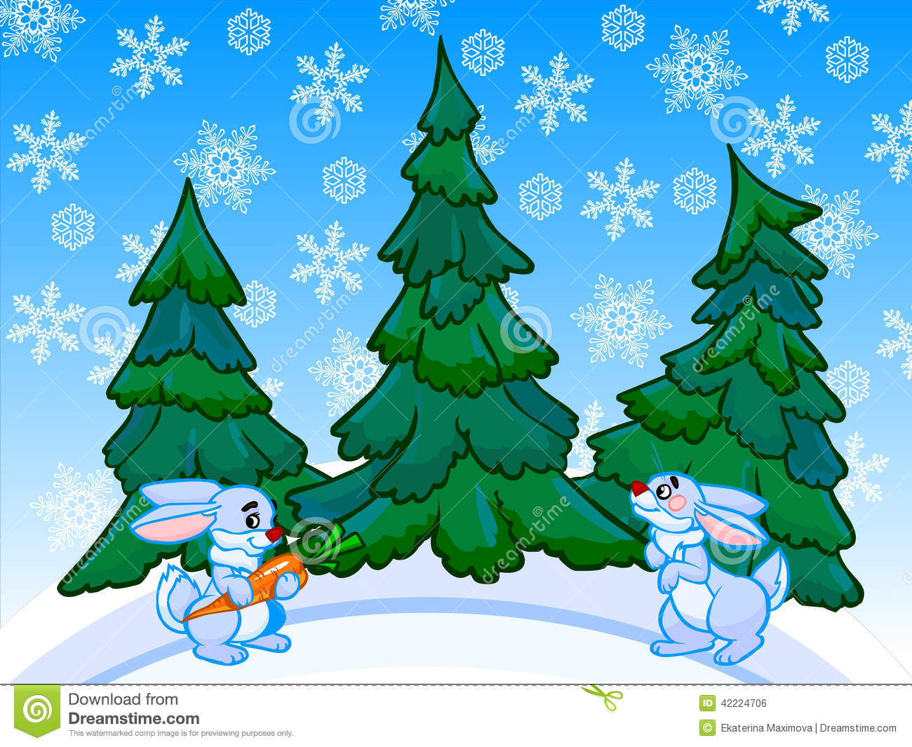 The Cartoon Coniferous Forest With Two Rabbits. Stock Illustration.