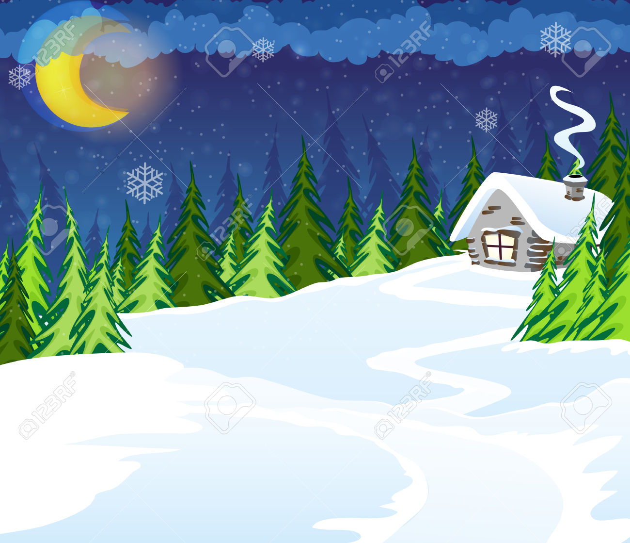 House In The Winter Coniferous Forest. Winter Night Scene Royalty.