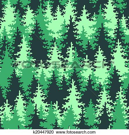 Clipart of Seamless pattern coniferous forest k20447920.