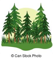 EPS Vector of Coniferous wood in morning fog..