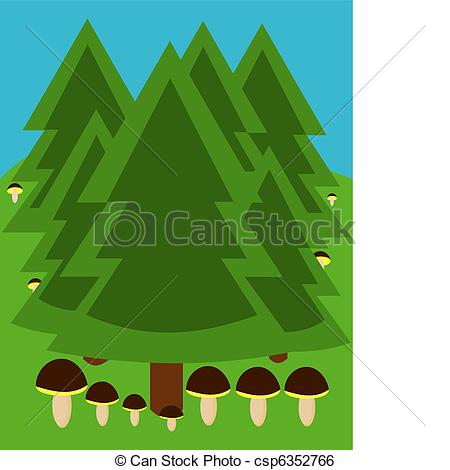 Clip Art Vector of Forest with fungi.