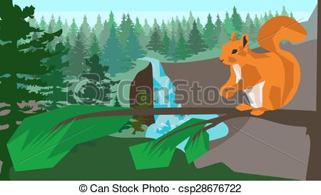 Vector Illustration of Squirrel on a branch in the coniferous.