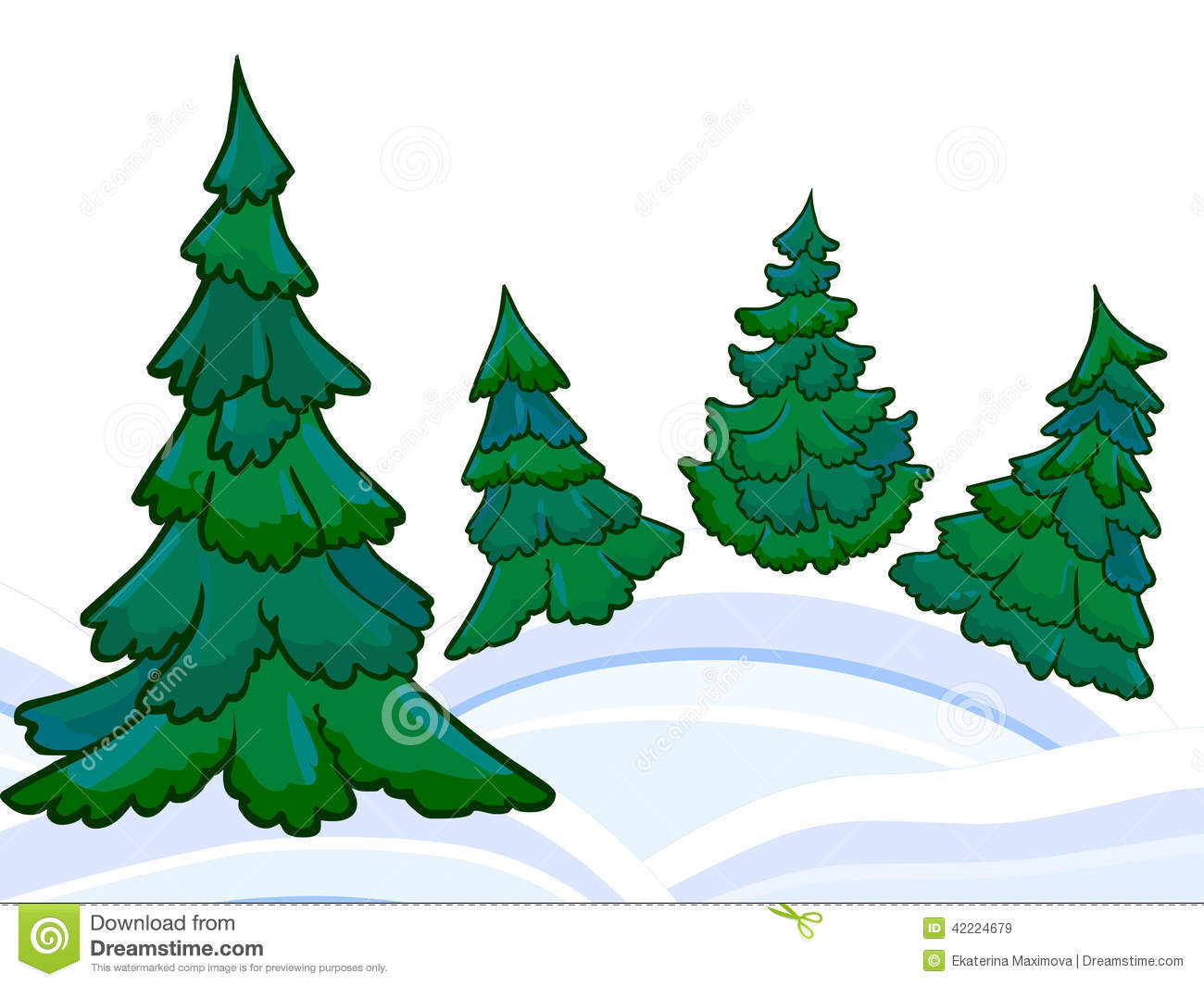 The Cartoon Coniferous Forest And Winter Snowdrifts Stock.
