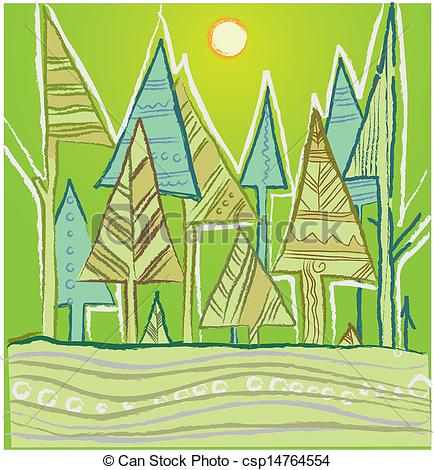 Clipart Vector of coniferous forest.