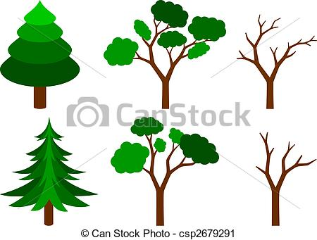 Vector Clip Art of set of trees.