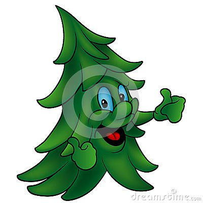 Cartoon Coniferous Tree Royalty Free Stock Photography.