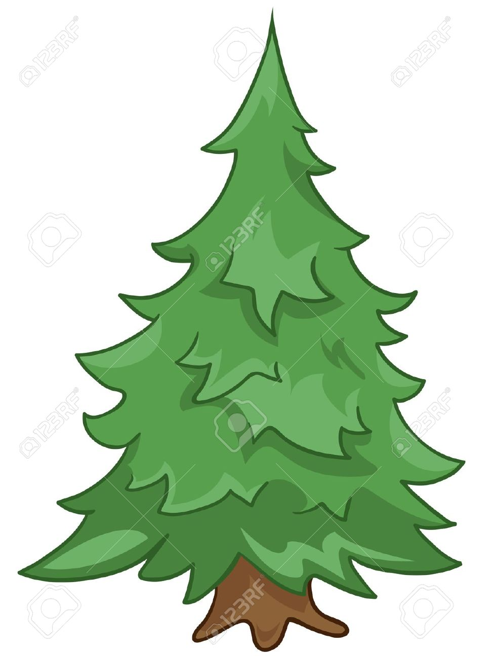 Cartoon Nature Tree Fir Royalty Free Cliparts, Vectors, And Stock.