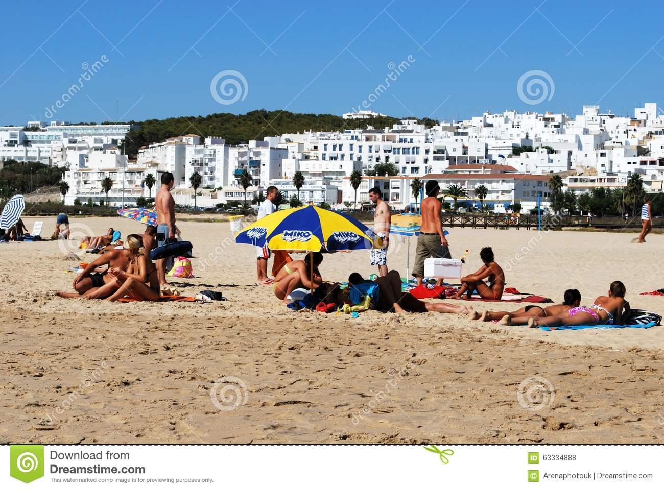 Beach And White Town, Conil De La Frontera. Editorial Stock Photo.