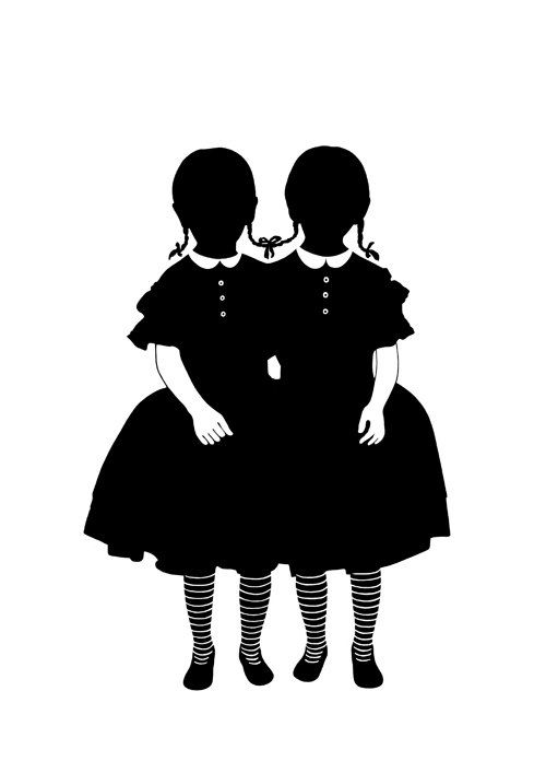 Silhouette Conjoined Twins Art Print Girls Halloween Gothic.