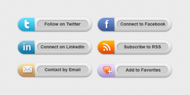 Classy social media buttons psd & png PSD file.