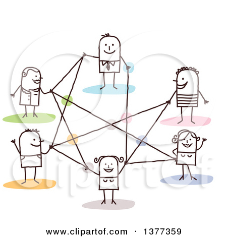 Clipart of a Stick People Connected in a Network.