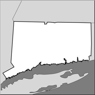 Clip Art: US State Maps: Connecticut Grayscale I abcteach.com.