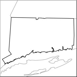 Clip Art: US State Maps: Connecticut B&W I abcteach.com.