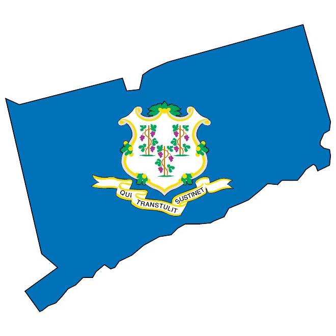 VECTOR MAP AND FLAG OF CONNECTICUT.