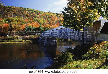 Stock Photo of Cornish covered bridge at Windsor, New Hampshire.