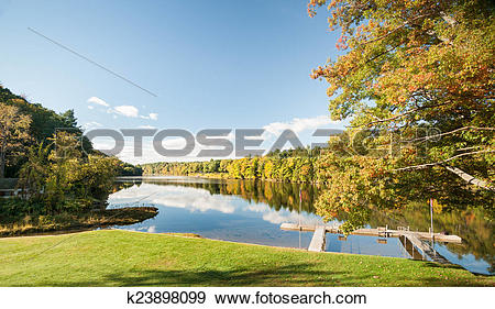 Stock Photograph of Connecticut River, morning calm k23898099.