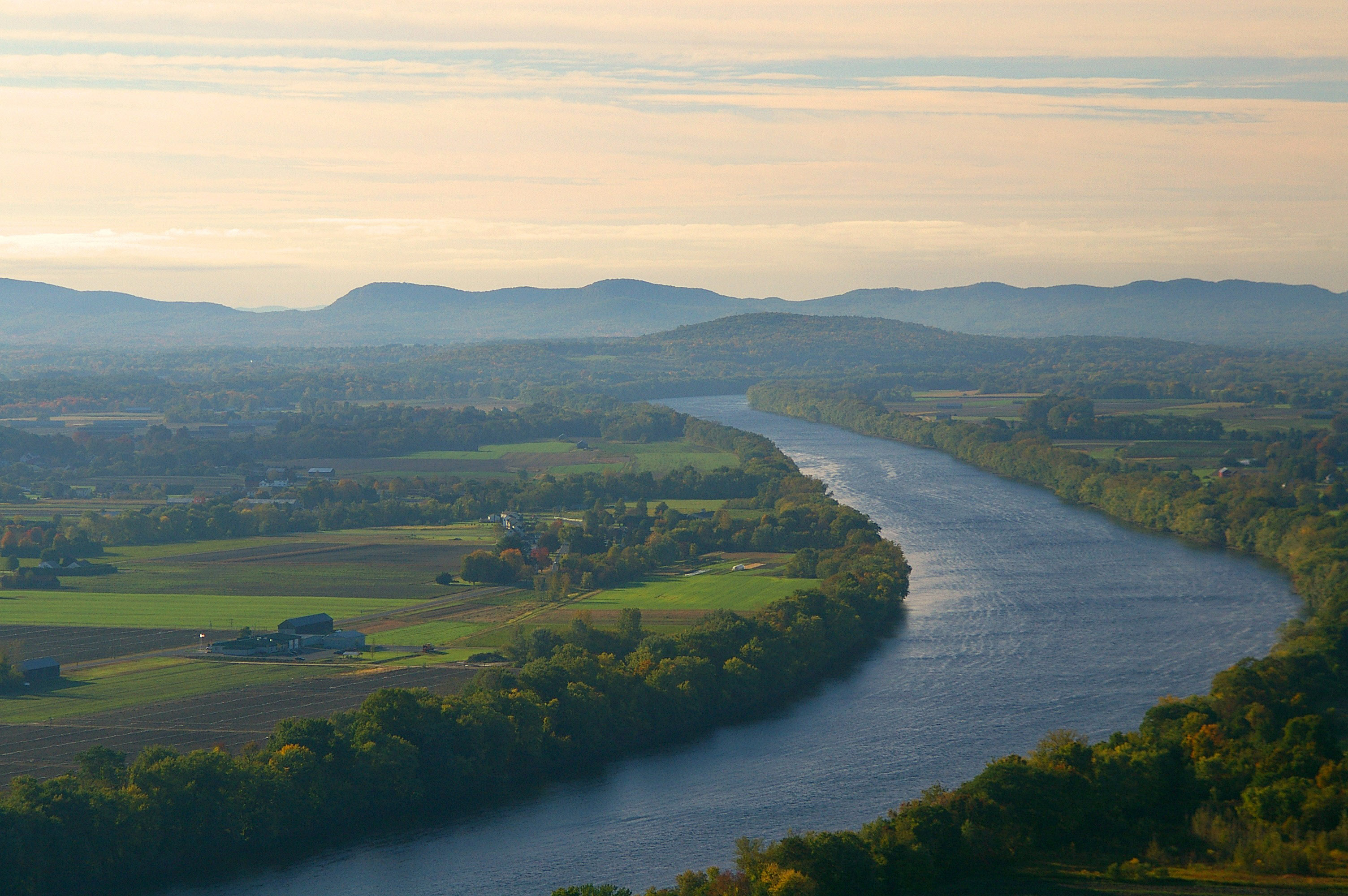 Landscape of the Connecticut River and Mount Sugarloaf.