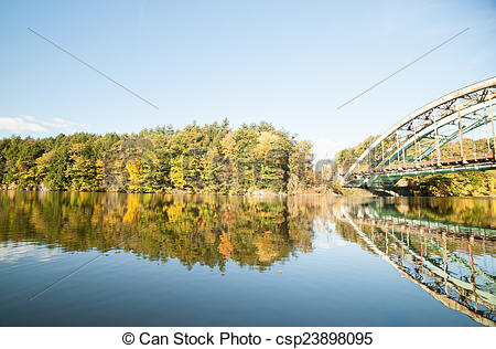 Stock Photographs of Connecticut River, morning calm and fall.