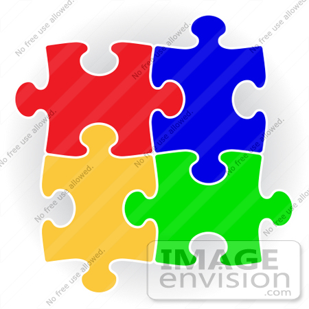 Clip Art Graphic of Colorful Puzzle Pieces Connecting Together.