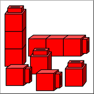 Clip Art: Classroom Manipulatives: Connecting Cubes Color 02.