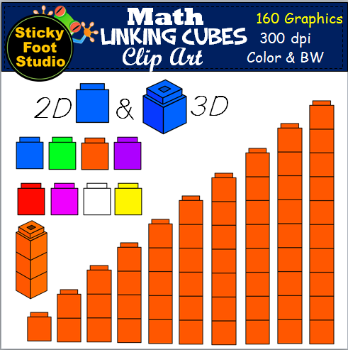 Linking Cubes for Math Clip Art.