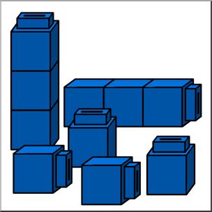 Clip Art: Classroom Manipulatives: Connecting Cubes Color 01.