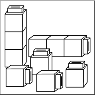 Clip Art: Classroom Manipulatives: Connecting Cubes B&W.