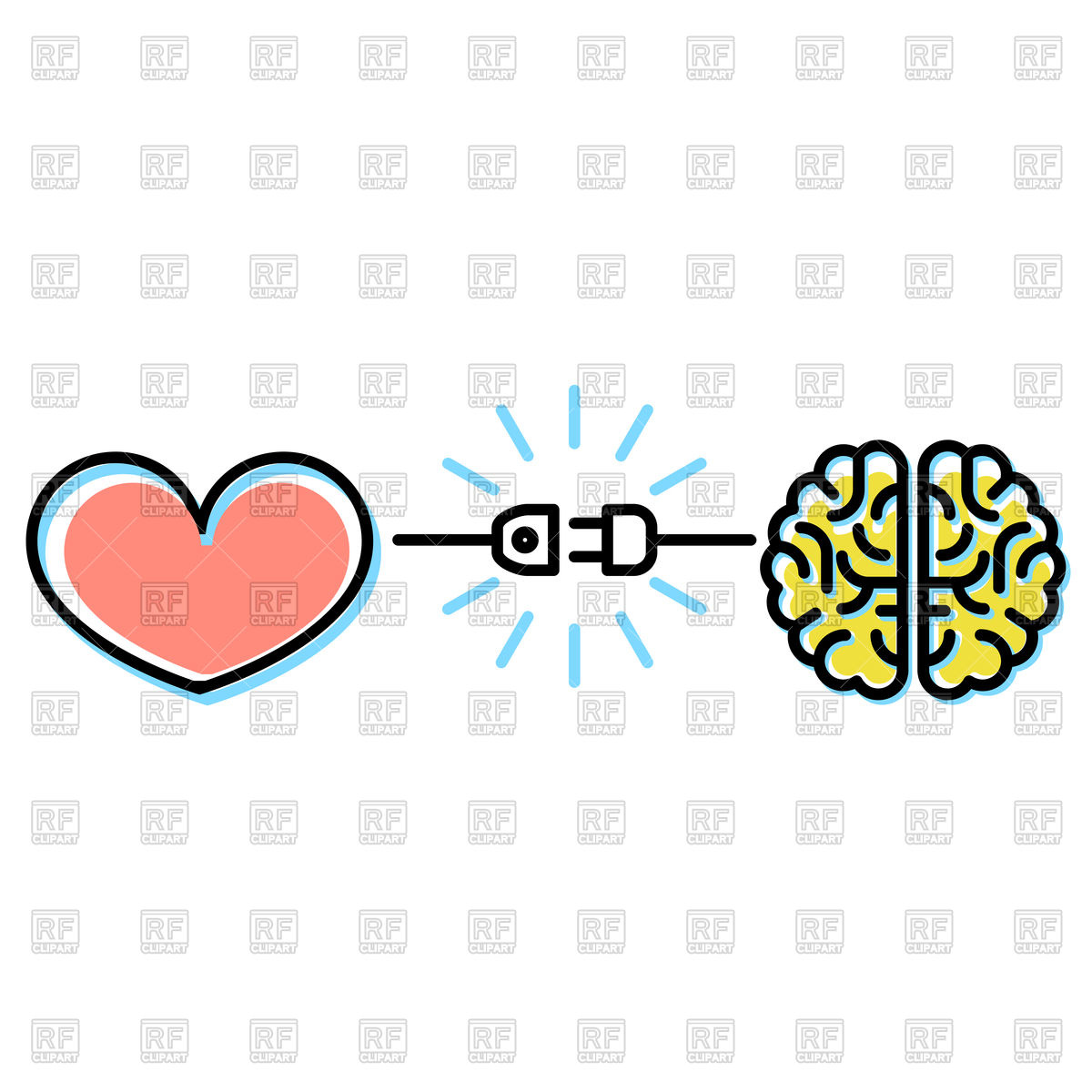 Heart and brain interactions concept.