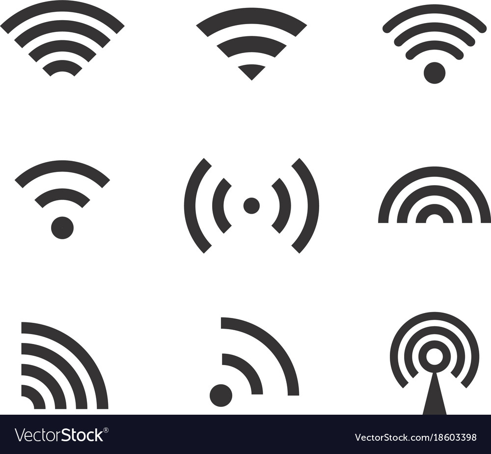 Different wireless connection pictograms clip.