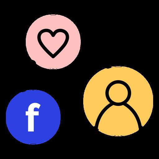 Icon heart facebook user connection stroke.