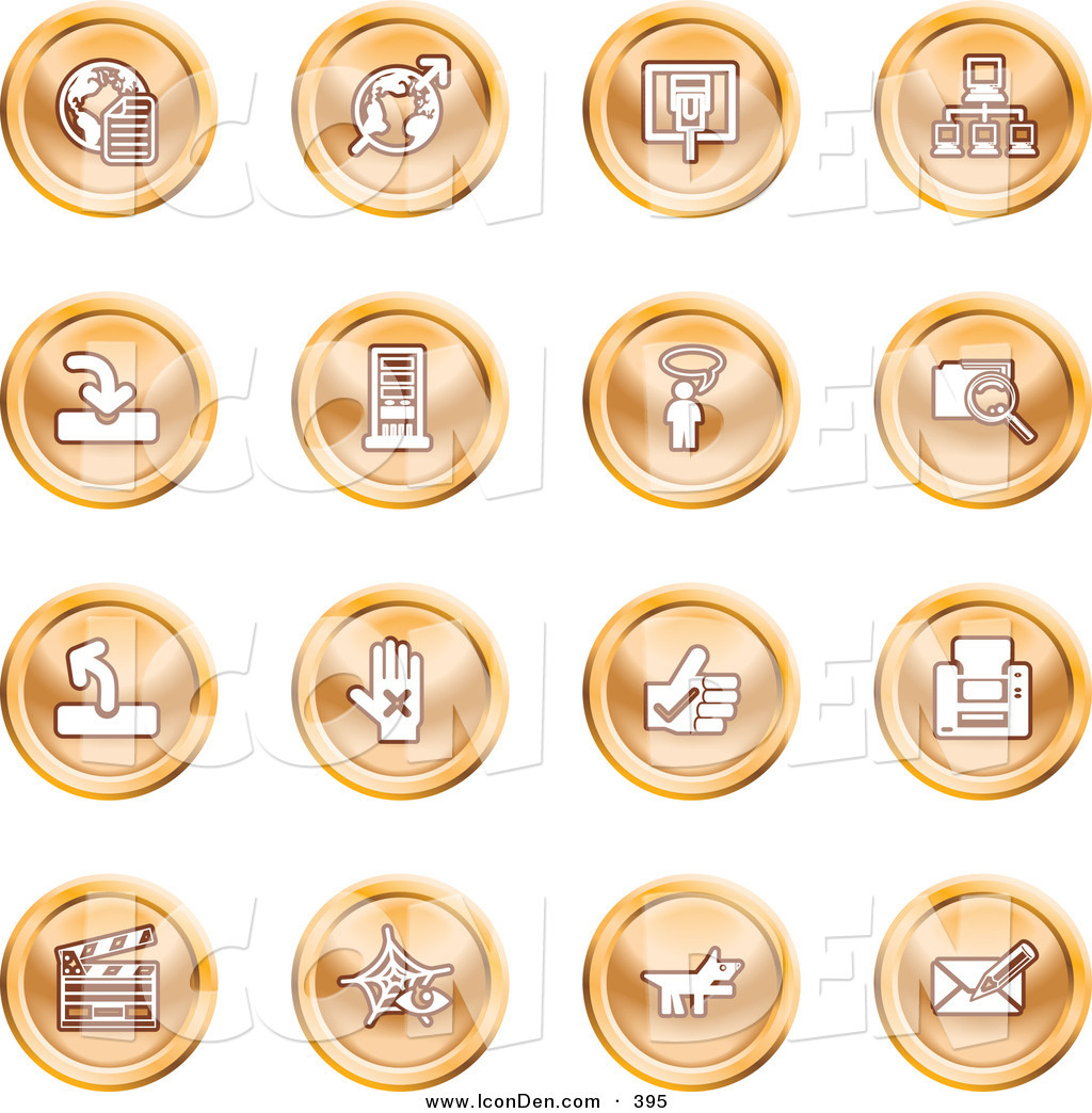 Clip Art of a Collection of Orange Coin Shaped Icons of the Www.