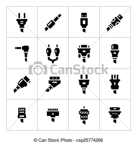Clip Art Vector of Set icons of plugs and connectors isolated on.