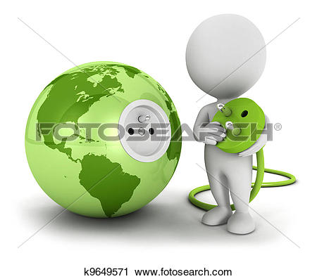 Clipart of 3d white people connects plug k9649571.