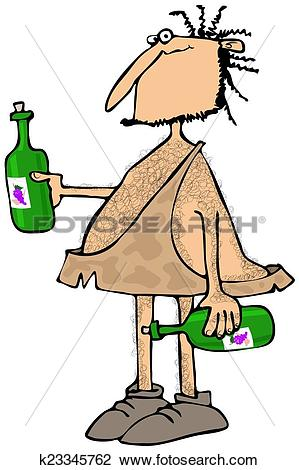 Clip Art of Caveman wine connoisseur k23345762.