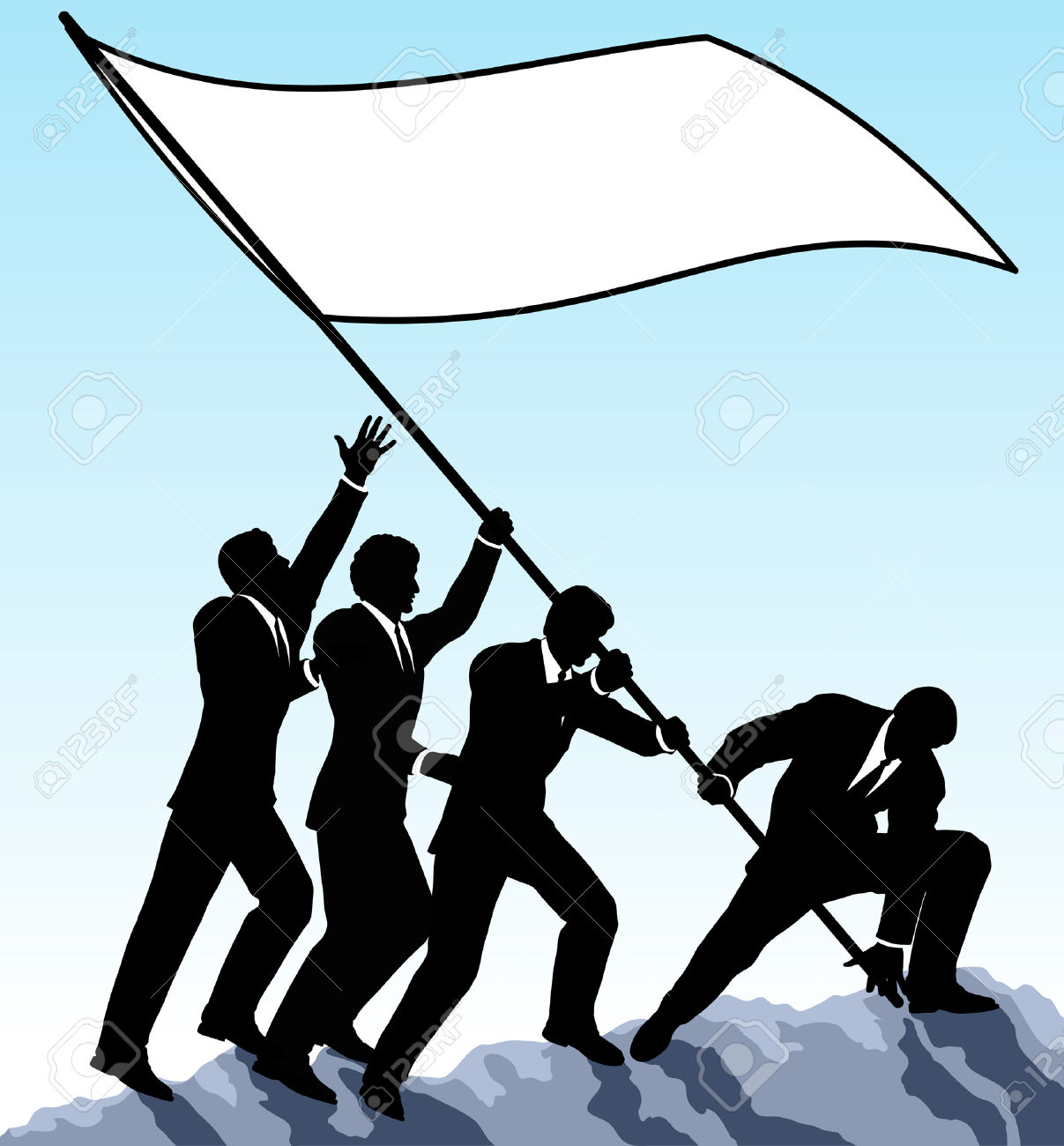 Editable Vector Illustration Of Businessmen Raising A Flag With.