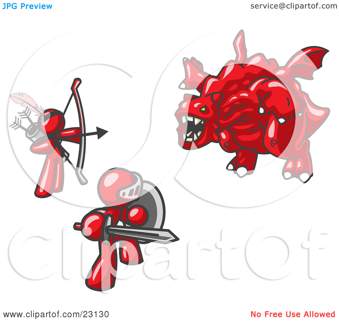 Clipart Illustration of Two Red Men Working Together to Conquer an.