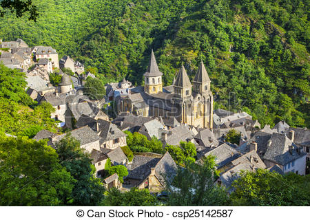 Stock Illustration of Conques France.
