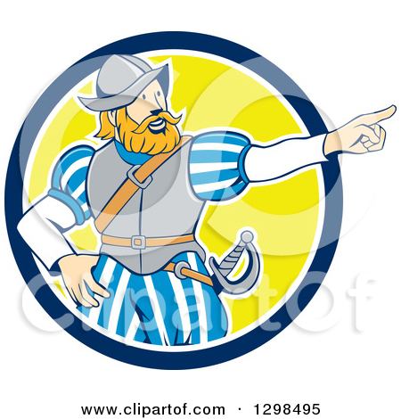 Clipart of a Cartoon Spanish Conquistador Pointing in a Blue White.