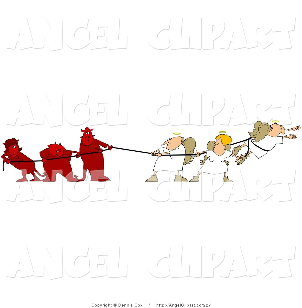 Clip Art of Three Bad Devils Playing a Conscience Tug of War with.