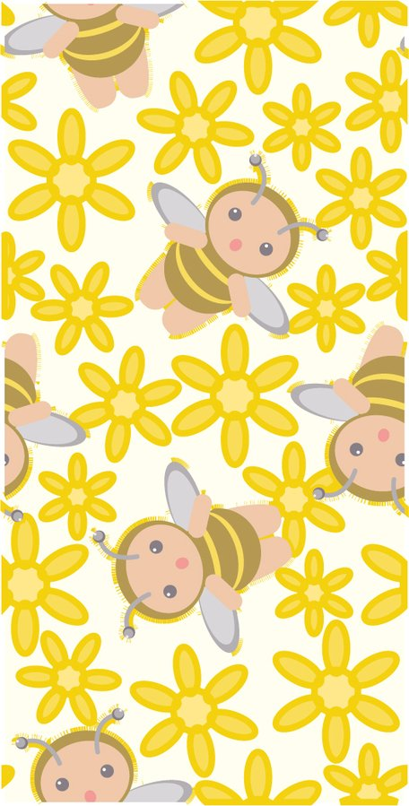 Cute bee flower background vector material consecutive.