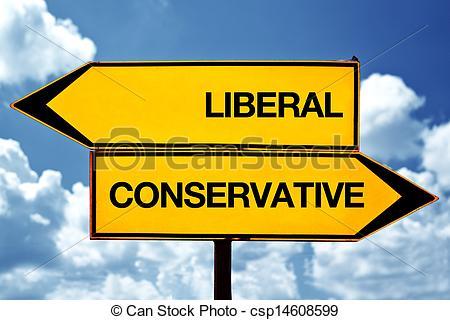 Liberal vs conservative clipart.