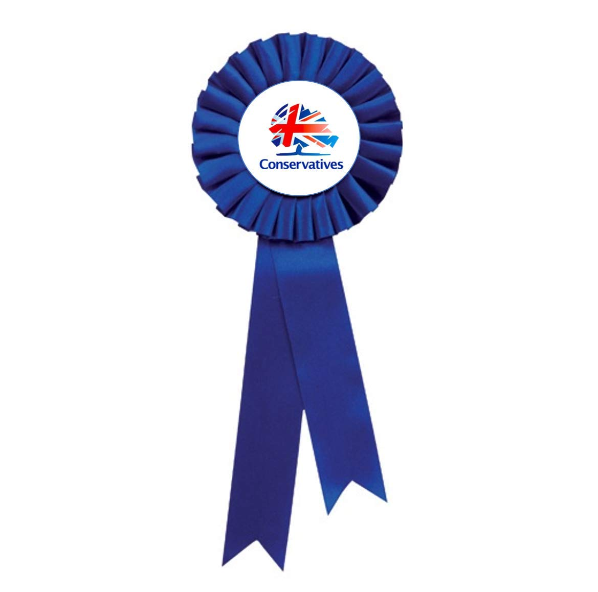 Trophy Store Blue Rosette with Conservative Logo Political Party 24.5cm.