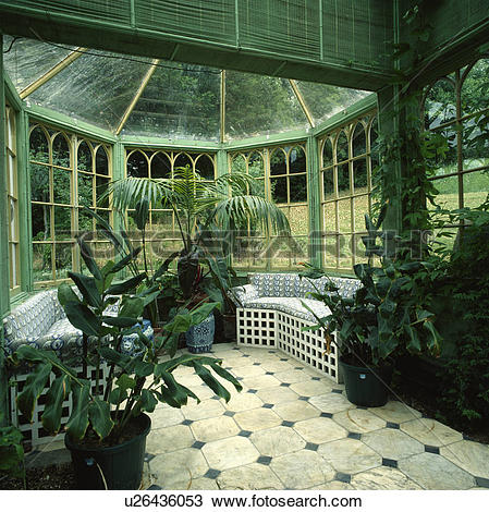 Stock Photo of Traditionally designed octagonal conservatory with.
