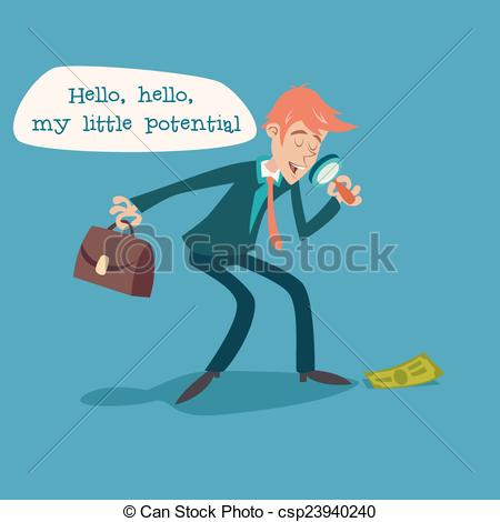 EPS Vector of Businessman Character with Magnifying Glass and.