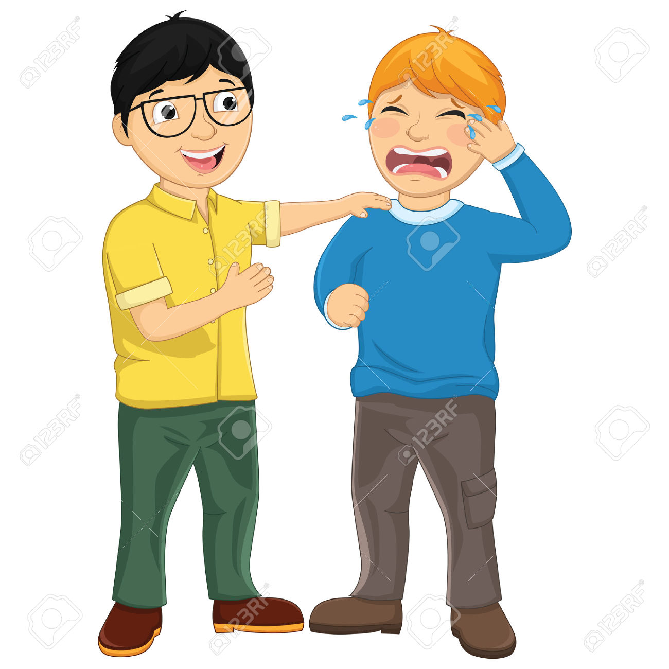 Kid Consoling Friend Vector Illustration Royalty Free Cliparts.