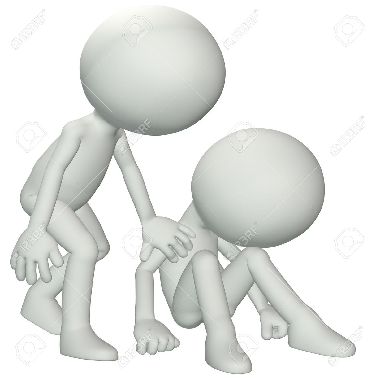 A Person Leans Down To Console Give Sympathy To A Friend In Need.