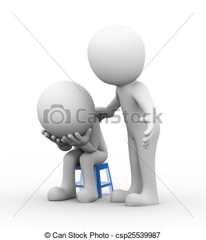 Stock Illustrations of 3d man supporting sympathy for sad.